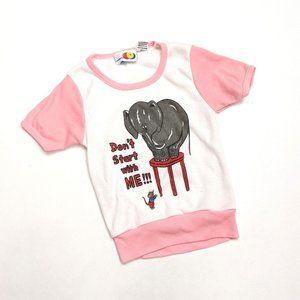 Vintage Pink Elephant Graphic T-Shirt Sz 3T